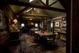 The breakfast room is a cozy place for guests at the Highland Haven - Creekside Inn in Evergreen,...