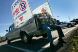 Paul Bailey (cq)of Boulder sits with his truck in the Broomfield Park and Ride on October 13,...