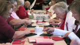 Volunteers officially began the Valentine Re-Mailing Program at the Loveland Chamber of Commerce...