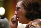 Suzanne McKinney cries as she testified in favor of HB 1094 which was held in committee at the Old...