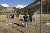 POOL PHOTO - Members of the media are given a tour of a new elk proof fence in Rocky Mountain...