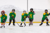 (Nederland, Colorado, Jan. 31, 2009) During practice, the Nederland Green Ghosts queue to skate as...