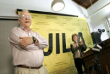 John L. Hall (cq), co-winner of the 2005 Nobel Prize in physics, accepts the applause during a...