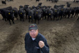 Skylar Houston stands in a pen with his angus at Aristocrat Reproduction in Platteville, Colo....