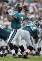 Jacksonville Jaguars' quarterback Byron Leftwich (#7, QB) drops back to pass during the third...