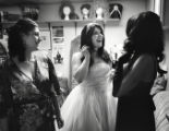 019 Burlesque performer, Annie Medina, center, stands backstage while talking to fellow...