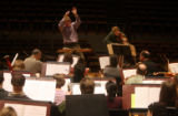 "Conductor Douglas Boyd rehearsed Thomas Ades' ""Concentric Paths"", as he directs the..."