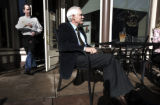 Ted Turner  relaxes in the warm Colorado sun at his restaurant Ted's Montana in Denver, Colo....