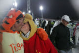 Scott Bradford (cq) and Shea O'Briant (cq) of Pagosa Springs, Colorado kiss during the Winter X...