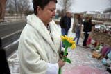 SR(134) Teresa Couture, 50, of Westminster takes a moment on a frigid Sunday afternoon, Jan. 25,...