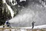 Loveland Ski Area trail maintenance and snowmaking manager Mark Abrahamson (cq) checks the quality...