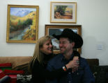 Ty Rinaldo and wife Nancy share a moment in their home on his ranch in Larkspur, Colo. on...