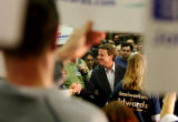 Democratic presidential candidate John Edwards shakes hands with voters at the Carpenters Union...