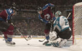 (DENVER, COLO.,  April 28, 2004)  Colorado Avalanche's #18, Alex Tanguay, left, and #23, Milan...