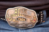 Maurice Wade's belt buckle.  (CARMEL ZUCKER/SPECIAL TO THE ROCKY)  **Maurice Wade (cq)  (Wade),...
