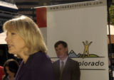 Lt. Governor Jane Norton speaks, left of frame, while Mayor John Hickenlooper listens in Republic...