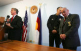 DA Mitch  orrissey speaks at a press conference where it was announced that arrests were made in...