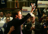 Democratic presidential candidate John Edwards talks to voters at the Carpenters Union Hall in Las...