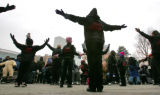 Members of the UCM Praise Dancers perform in Civic Center Park in the memory of Dr. Martin Luther...