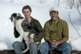 Steve DeLine (cq), right, and his son Ben DeLine and dog, Tilly, Tuesday afternoon, January 23,...
