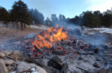 A traditional pile burn at the Moraine Park Campground in Rocky Mountain National Park in Colorado...