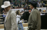 0149 Judges walk Shelby Kroupa, CQ,  from White Lake South Dakota walking Maynard, a steer named...