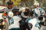 (Denver,CO,Shot On 4/28/04-- Colorado Avalanche Adam Foote stands in the middle of a malay in...