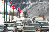 Traffic piles up along Vail's frontage road Friday as commuters wait for I-70 to re-open.  The...
