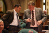 L to R: Rep. Joe Rice (cq) D-Littleton, talks to Rep. Douglas Bruce (cq) R- Colorado Springs ,...