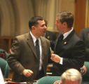 L to R: Rep. Joe Rice (cq) D-Littleton, talks to  Rep. Victor Mitchell (cq) R- Castle Pines...