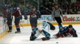 (DENVER, COLO.,  April 28, 2004)  Colorado Avalanche Karlis Skrastins, 3, and San Jose Sharks...
