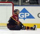 NY152 - **FILE** Atlanta Thrashers' Peter Bondra, of Ukraine, sits on the ice after the Thrashers...