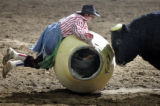 Bull fighter Quirt Hunt gets face to face with a bull as the National Western Stock Show presents...
