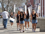 Coors Light Silver Bullet Girls picket sign rally in front of the downtown main post office 951...