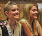 L to R:  Colorado Springs Girl Scouts Melissa James (cq) and Dana Goddard (cq) are all smiles as...