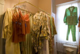Pajamas are displayed in the bathroom, which is also a dressing room at Rejuvanest on 32nd street...