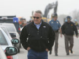 Gov. Ritter leaves the scene on hwy 96, where two fireman died, April 16, 2008, Ordway. Inside ...