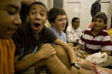 Max Billinghurst, 14, (cq) laughs at Chris Kelly, 14, (cq) (left) during a lunch break in between...