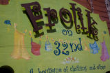 The hand painted sign outside of the store Frolik on 32nd street in Highland square on April 15,...