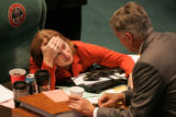 BG0305 State Sen. Alice Madden, D-Boulder, shows a bit of exhaustion as she speaks with State Sen....