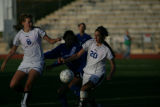 Amanda Wallace (cq) and Rachel Baer (cq) of Cherry Creek steal the ball from Grandview's Alexsys...
