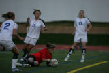 Cherry Creek goalie Molly Poletto (cq) saves the ball during the final seconds of a double...