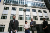 DM0830  Attorney Stephen Harris speaks to the media in front of the Alfred A. Arraj Federal...