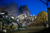 (0053) - A fire burns at All Recycle, 1775 West Wesely, Denver.   (BRIAN LEHMANN/SPECIAL TO THE...