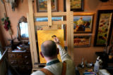 (PG0953)  Florence resident and artist Rudl Mergelman works on a painting on April 23, 2008 at...