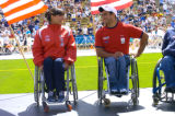 [Boulder, CO - Shot on: 5/30/04]  Wheelchair winners Tyler Byers(left) and Saul Mendoza, at the...