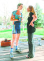 BG0451 Taylor Phinney, 17, chats with his mother Connie Carpenter-Phinney before a workout at his...