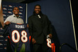 Denver Broncos second round pick Eddie Royal (cq) a receiver from  Virginia Tech and first round...