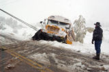 A Douglas County school bus slid off Lake Gulch Road during the snowstorm on Monday, October 10,...