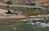 Ed Miller (cq) of Monument ties on a new fly to fish the South Platte River near the town of North...
